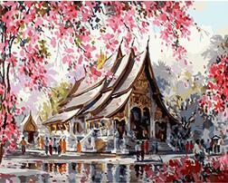 Us 2451 5 Offmahuaf X1280 Japan Kirschblüte Tempel Gerahmte Diy Malen Nach Zahlen Moderne Wandkunst Bild Handgemalt Für Wohnkultur In