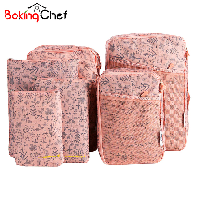 BAKINGCHEF 6Pcs Travel Bags Cosmetic Toiletries Portable Storage Makeup Pouch Wash Shoes Clothing Underwear Bra Organizer Case