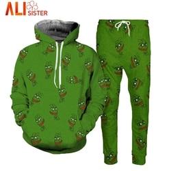 4df13dd0ef7 Alisister Pepe Frog Hoodies Suits Men s Sweatshirt Joggers Funny Animal Print  Set 2019 Fall Winter Unisex