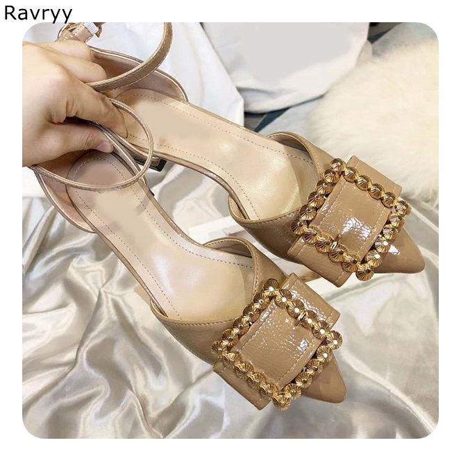Woman sexy pump nude high heels metal ring decor fashion pointed toe low heel casual shoes female party dress shoes single shoe