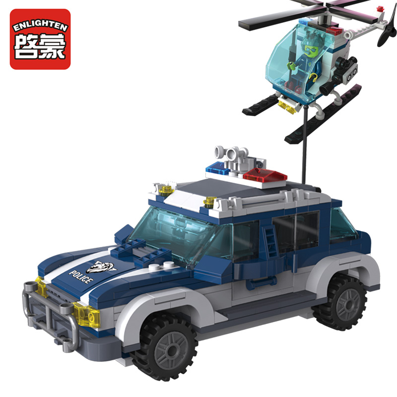 ENLIGHTEN CITY Police SWAT Air-ground Track Fugitive Chase Helicopter Assemble Building Blocks Minifigures Educational Kids Toy
