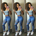 Sexy Women Denim Skinny Pants High Waist Hole Stretch TrousersLong Slim Pencil Jeans