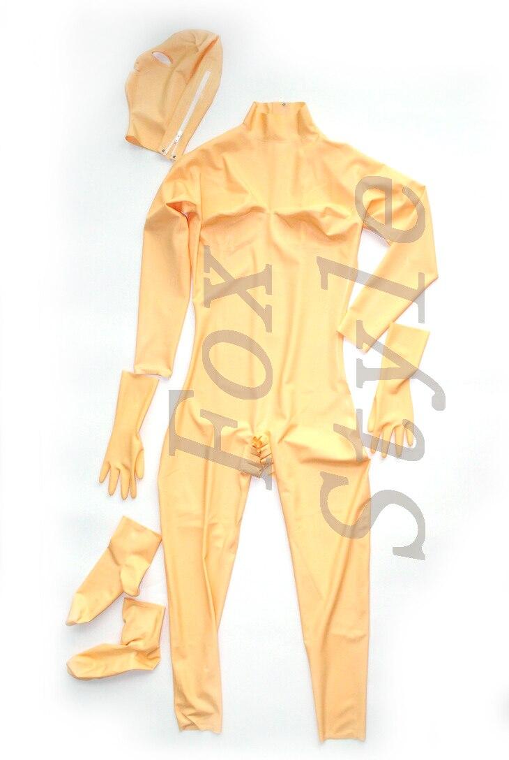 Costume de chat fait main en Latex avec capuche en couleur chair sexy en caoutchouc 100% nature tenue en caoutchouc ouvert entrejambe style renard