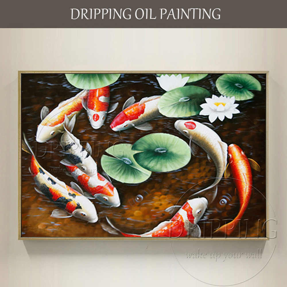 Artist Hand-painted Koi Carp Oil Painting on Canvas Chinese Fish 9 Carps Oil Painting Traditional China Fishes Oil Painting