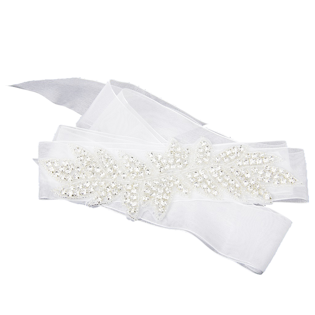 1 x Rhinestone Decorated Bridal Wedding Dress Belt Sash Belt---White