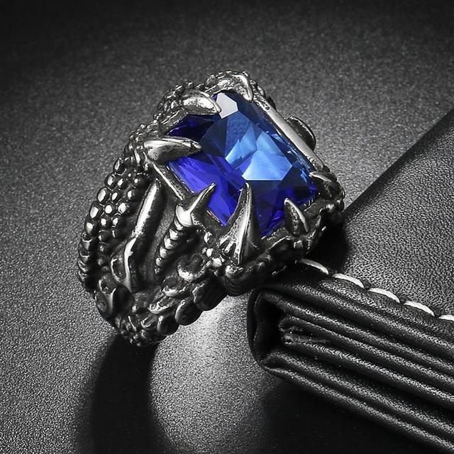 OBSEDE Fashion Men's Vintage Ring Dragon Claw Ring Titanium 316L Stainless Steel Rings for Male Fashion Jewelry CZ Stone Crystal 4