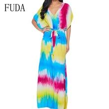 FUDA Fashion Rainbow Printed Vintage Boho Long Maxi Dress Women Summer Sexy Deep V Neck Tie-up Loose Femme Retro Vestidos