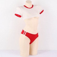 Japanese Gym Suit Style Sexy Womens Lingerie 2PCS Set Transparent Short Shirt & Crotchless Triangle Shorts Cute Exotic Apparel