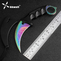 KKWOLF CS GO Counter Strike Karambit Knife Camping Tactical Survival Neck Knife Never Fade Tiger Tooth