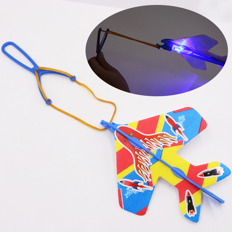 DIY Flash Light Airplane Plane Ejection Cyclotron Slingshot Rubber Band Aircraft Flash Cruise Outdoor Toys For Child Kids Gift