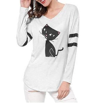d164bd31d7a1 Camiseta de manga larga con cuello en V y dibujos animados de gato negro y  gato vogue camiseta de otoño invierno de algodón para mujer manche longue  ...