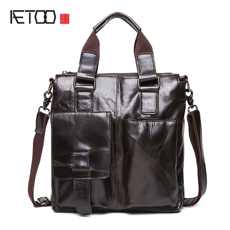 AETOO Men messenger bags genuine leather bag men briefcase fashion designer handbags high quality famous brand business bag