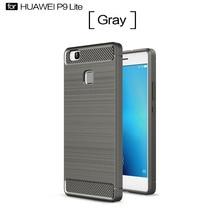 Etui Huawei P9 Lite Case Silicon for Cover Fundas Soft Carbon Fiber Brushe Coque Aksesuar
