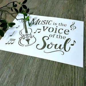 1 шт. A4, музыка-это трафарет «Голос души», многоразовый музыкальный шаблон для картины на холсте, краски для стен, создания сумок, домашнего д...