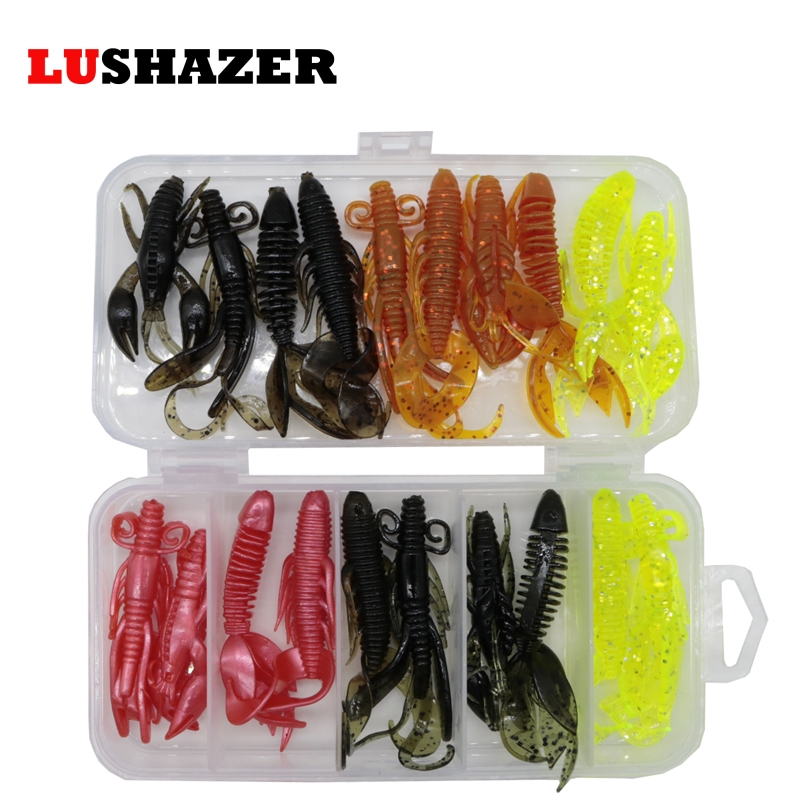 Купить со скидкой LUSHAZER 20pcs/lot soft baits fishing lures soft lure jig wobbler swivel rubber lure fishing worms s