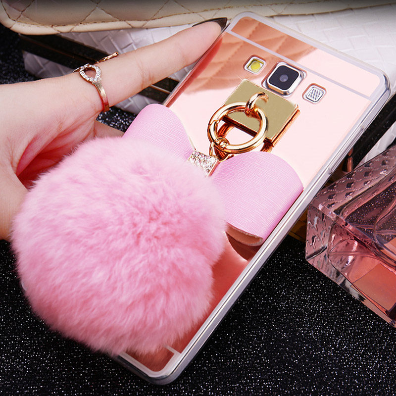 Fitted Cases Lovely Yrff Cute Fur Ball Tassels Phone Cases Fundas For Samsung Galaxy A5 A7 A8 A3 2016 J3 J5 J7 2016 2015 Plating Mirror Case Cover