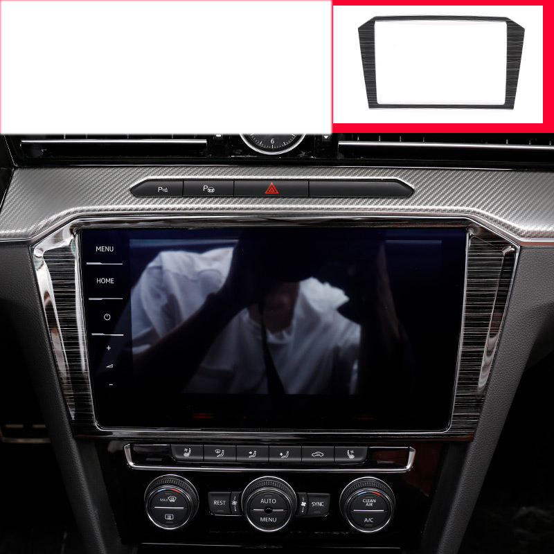 lsrtw2017 titanium black stainless steel car dashboard navigation frame trims for volkswagen arteon 2018 2019