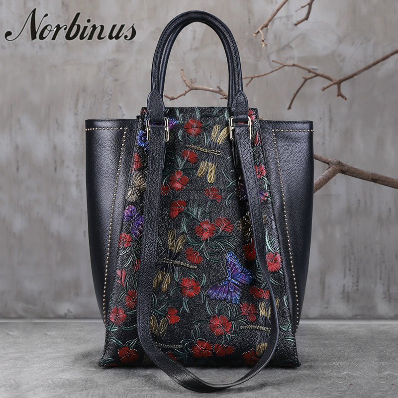 Norbinus Women Natural Skin Shoulder Bag Ladies Large Capacity Tote Handbag High Quality Embossed Genuine Leather Top Handle BagNorbinus Women Natural Skin Shoulder Bag Ladies Large Capacity Tote Handbag High Quality Embossed Genuine Leather Top Handle Bag