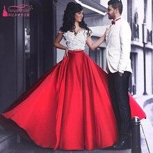 Zwei Stücke Prom Kleider Weiß Und Rot Elegante Sexy abendkleider Lange homecoming kleider Spitze vestidos de graduacion Z572