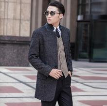 Grey casual Single-breasted wool coat men suits 2016 trench jackets mens single breasted wool coats overcoats dress winter S 9XL