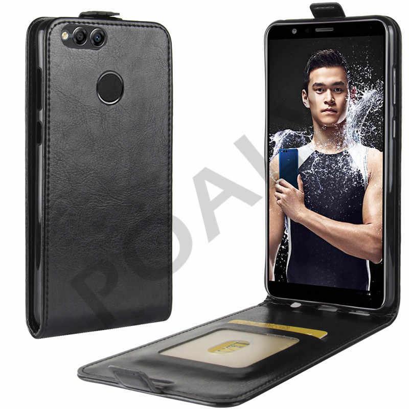 Untuk Huawei Kehormatan 7X Case Cover 5.93 Dompet PU Kulit untuk Huawei Honor 7X BND-L21 Honor7X Case Flip silikon Kembali Tas