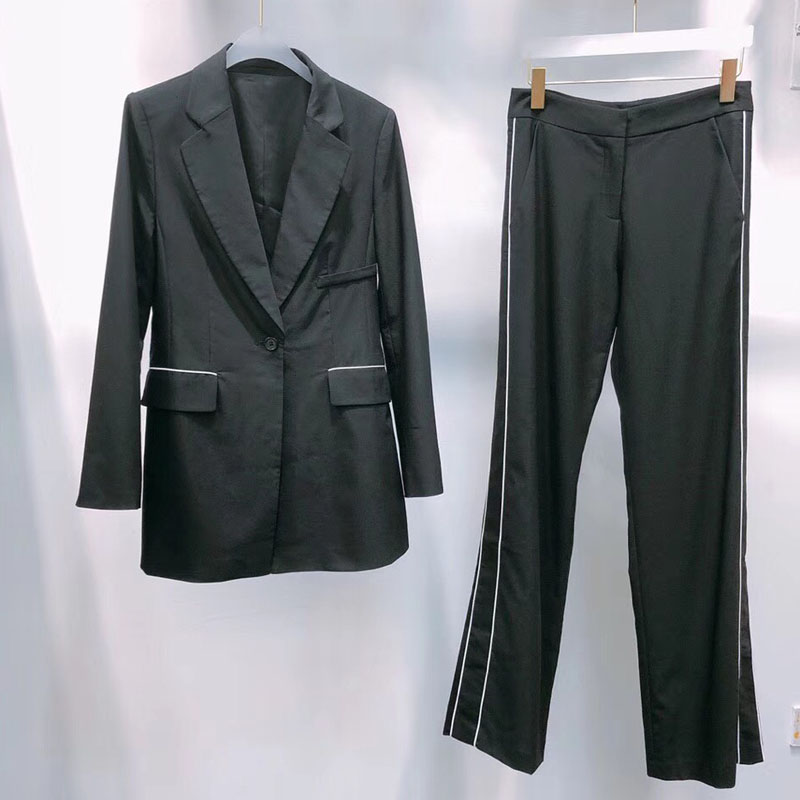black set elegant 2 piece set women pant and top 2018 long sleeve jacket and pants suit