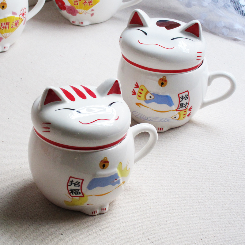 1PC Traditional Chinese Maneki Neko Creative Plutus <font><b>Cat</b></font> Milk Mug with Lid Office Ceramic <font><b>Lucky</b></font> <font><b>Cup</b></font> Drinkware Gifts NL 002 image