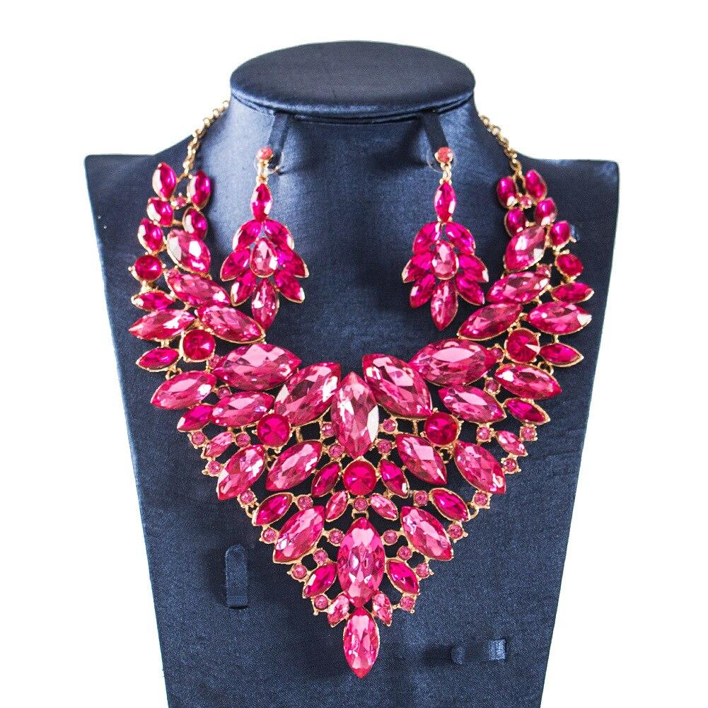 Dealky Women Colorful Jewellery Set African Beads Jewelry Set Nigerian Wedding Neckalce and Earring Set