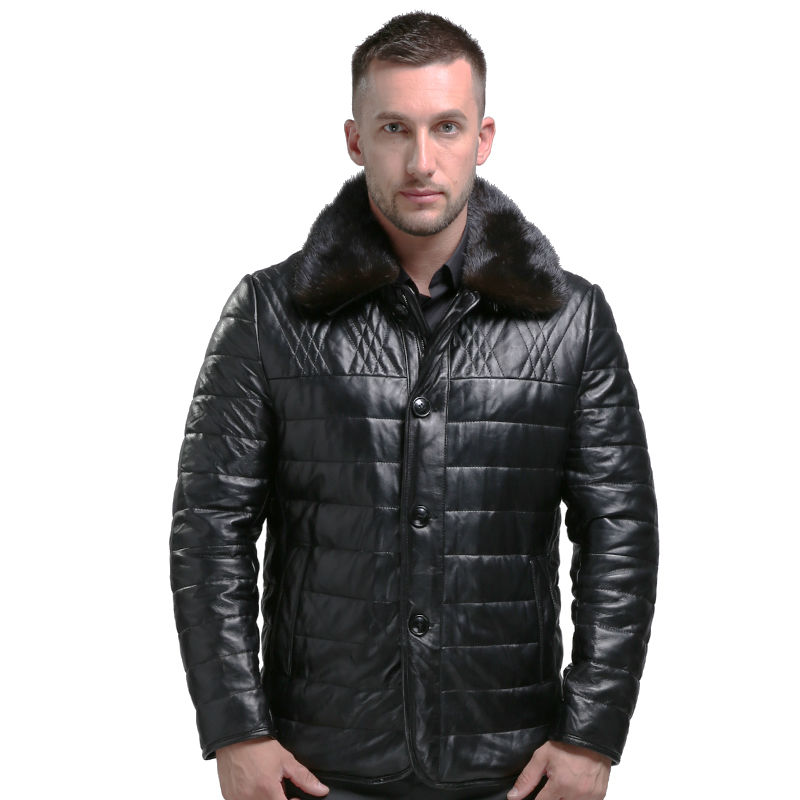 Mens Genuine Leather Down Coats Parks Haining Sheepskin Leather Winter Warm Men Pure Leather Down Jackets Thicken 1610