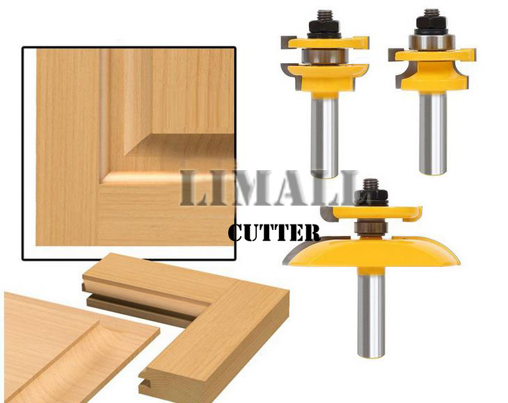 1/2-SHK Kitchen cabinet door cutter knife nail tenon joint milling cutter+Double R door panel knife-3pcs