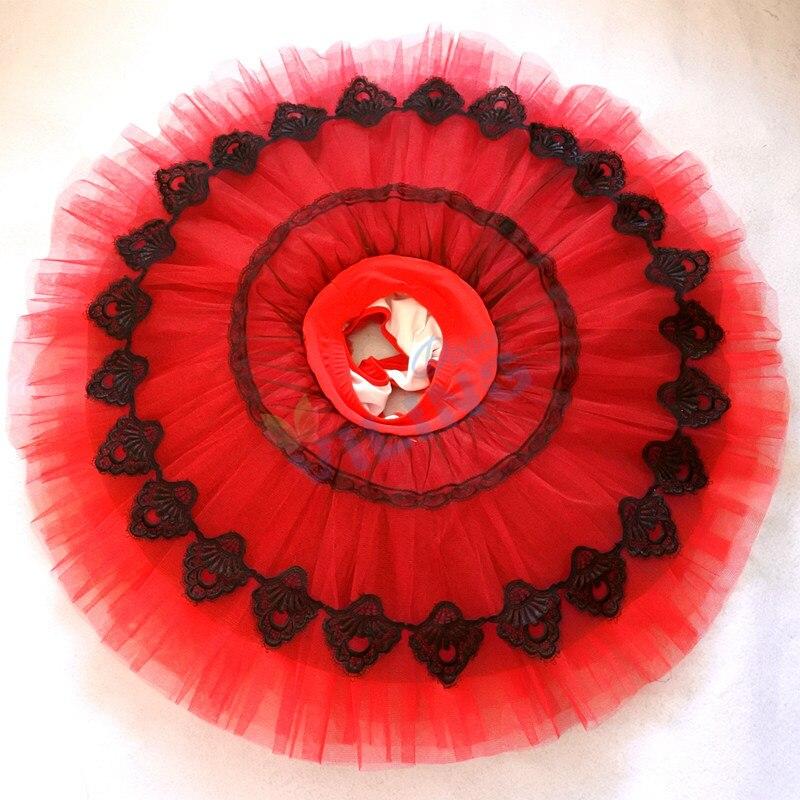 Ballet tutu red half tutu with pants professional rehearsal ballet platter plate practicing Pancake tutu