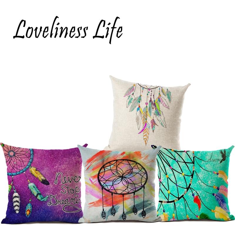 Atrapasueños Funda de cojín de Color Fundas de Almohada Feather - Textiles para el hogar