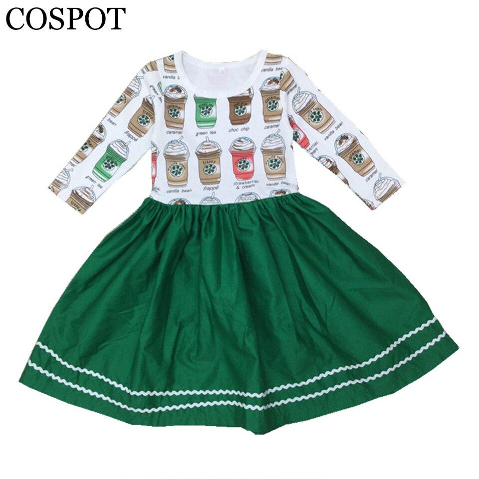 Vestido de manga larga para niñas vestidos casuales de algodón para niñas vestido de princesa de tazas de café a la moda para niñas 2019 recién llegado 22F