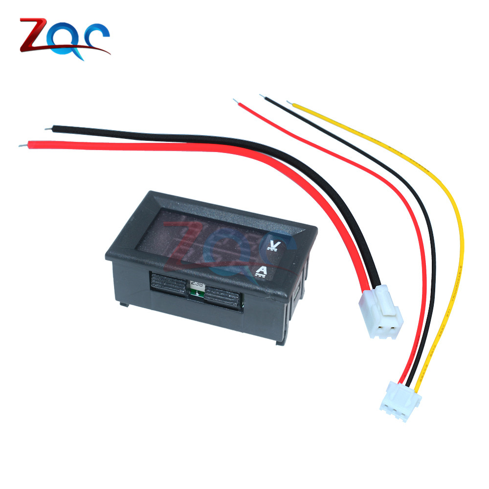 HTB1WN djBDH8KJjSszcq6zDTFXaD 0.56 inch Mini Digital Voltmeter Ammeter DC 100V 10A Panel Amp Volt Voltage Current Meter Tester Blue Red Dual LED Display