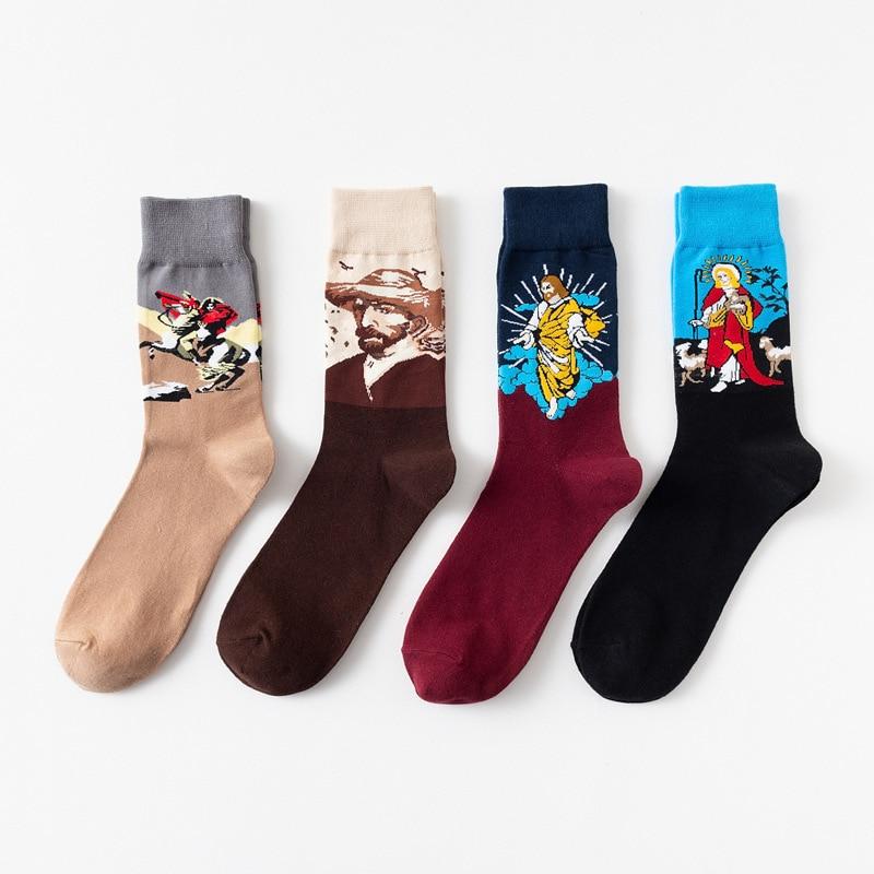 Men's socks new try in the tube male personality tide brand cotton socks oil painting men's cotton socks tide socks