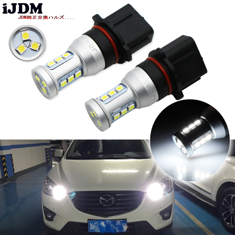 iJDM Auto P13W LED Error Free Canbus 12-SMD-3030 SH24W PSX26W LED Bulbs For Mazda CX-5 Daytime Running Lights,6000K Xenon White