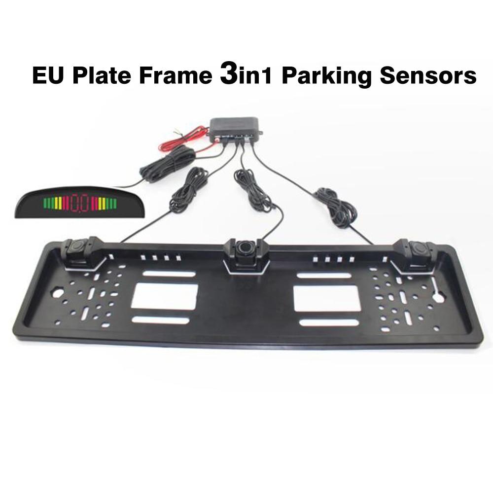 Car Parking Sensor Parktronics EU European License Plate Frame Reversing Radar With 3 Sensors 4pcs lot reversing radar sensor reversing radar probe parking sensors 6 colors for choose