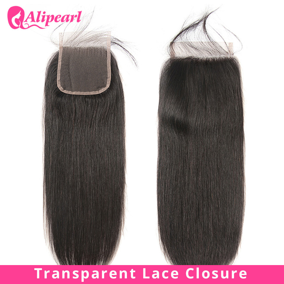 Straight Transparent Lace Closure 4X4 Free Part With Baby Hair PrePlucked Brazilian Straight Closure Remy Natural Color AliPearl