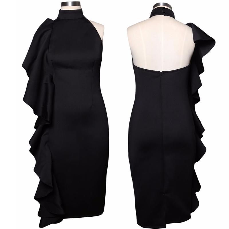 ADEWEL 2017 Women Big Ruffles Midi Elegant Dress Sexy Open Back Bodycon Party Dress High Neck Vintage Pencil Dress 6
