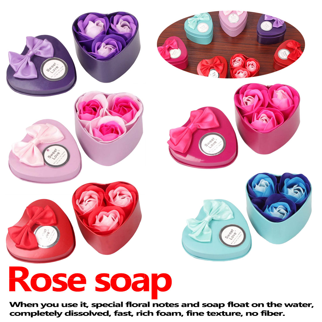Red 3Pcs Artificial Flower Rose Soap Flower Heart-Shaped Iron Box Scented Bath Body Petal Rose Small Gift Box