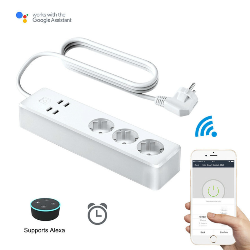 Power Strip Socket with 4USB Standard Extension Socket Plug Multifunctional Smart Power Strip Home Electronics for Alexa Control