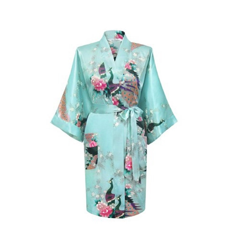 Baby blue Fashion Women's Peacock Kimono Bath Robe Nightgown Gown Yukata Bathrobe Sleepwear Pocket With <font><b>Belt</b></font> S M L XL <font><b>XXL</b></font> XXXL image