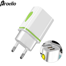Proelio 5V 2A EU Plug LED Light 2 USB Adapter Mobile Phone Wall USB Charger Micr