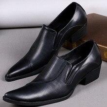 cb8045b32 سهرة الزفاف الأحذية الجلدية للرجال وأشار اصبع القدم Mocassin أوم الرسمي  الأعمال أكسفورد الأحذية