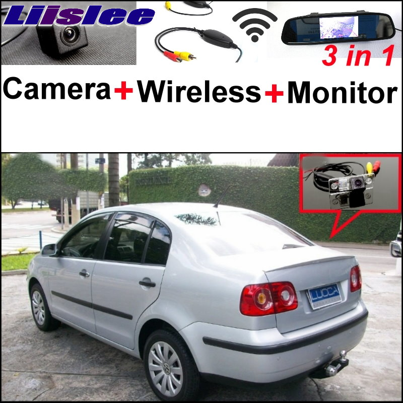 Liislee For Volkswagen VW Polo Sedan 3 in1 Special Rear View Camera + Wireless Receiver + Mirror Monitor Easy DIY Parking System liislee for renault samsung qm5 3 in1 special rear view camera wireless receiver mirror monitor easy back parking system