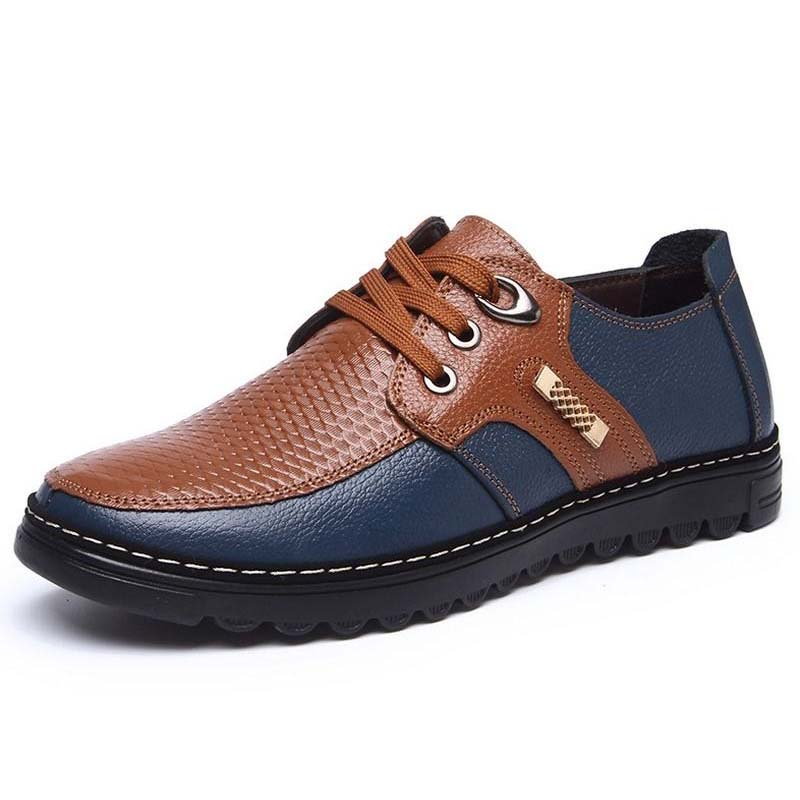 2018 mans leather flat driving lace up casual shoes patchwork male business dress fashion shoes Moccasins Zapatos Hombre oxfords