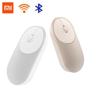 Image 3 - Xiaomi mi mouse portátil sem fio, mouse original, mousos, liga de alumínio, material abs, 2.4ghz, wifi, bluetooth 4.0, controle conexão