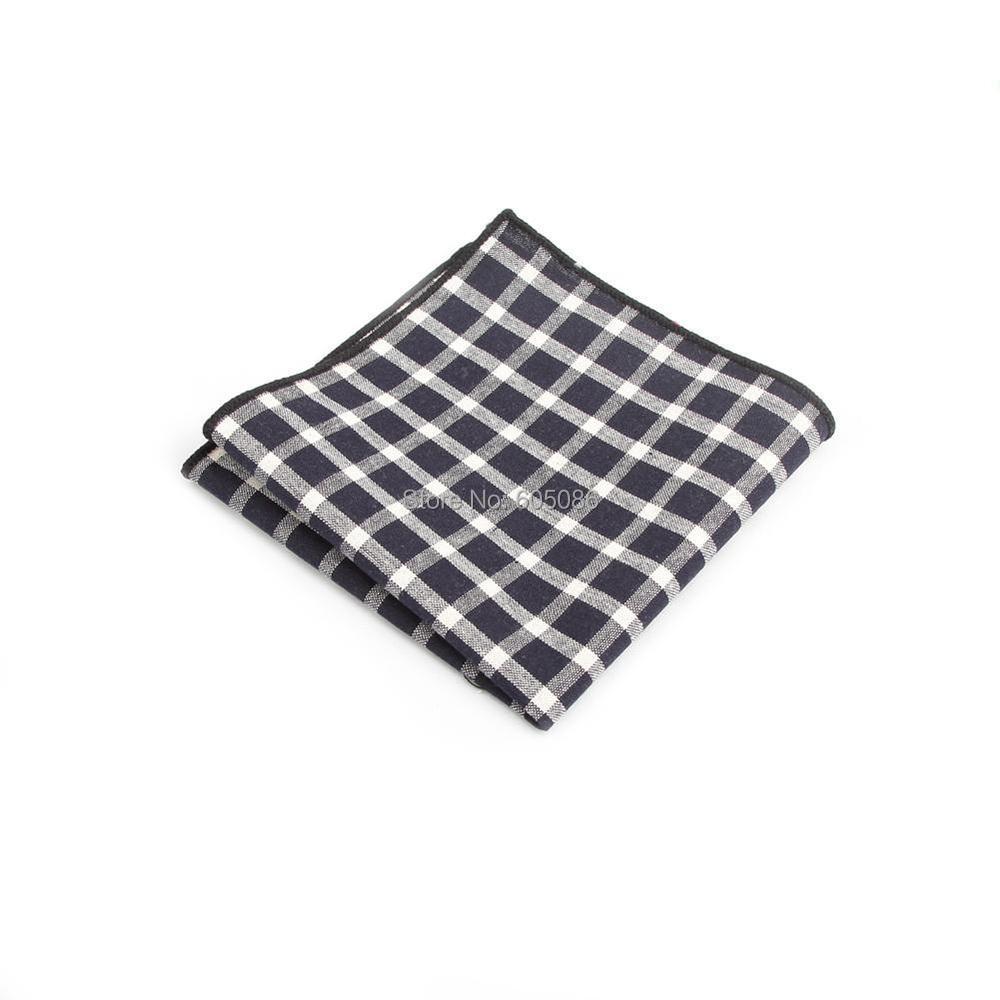 HOOYI New Arrival Plaid Men Handkerchief Cotton Hanky Pocket Square 23*23cm
