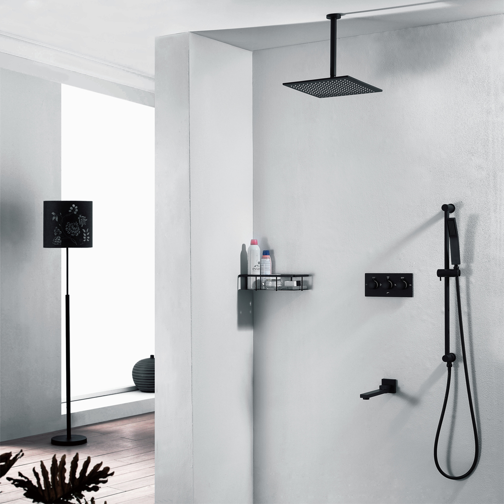 HIDEEP Black Wall Mounted 10 Rainfall Shower Faucet Mixer Set with Swivel Tub Spout /Hand Shower Bathroom Luxury Shower K black wall mounted 8 rain shower faucet mixer set with bathroom commodity shelf swivel tub spout hand shower bidet sprayer