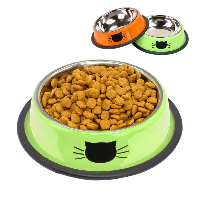 stainless steel dog cat bowl travel pet puppy food water bowls for
